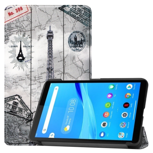 For Lenovo Tab M7 Coloured Drawing Pattern Horizontal Deformation Flip Leather Case with Three-folding Holder(Ancient Tower)