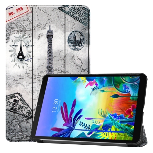 For LG G Pad 5 10.1 Coloured Drawing Pattern Horizontal Deformation Flip Leather Case with Three-folding Holder(Ancient Tower)