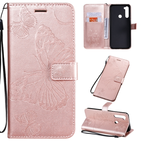 For Xiaomi Redmi Note 8T Pressed Printing Butterfly Pattern Horizontal Flip PU Leather Case with Holder & Card Slots & Wallet & Lanyard(Rose Gold) фото