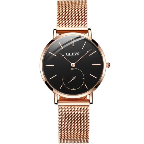 OLEVS 5190 Women Waterproof Ultra-thin Small Dial Quartz Watch(Rose Gold + Black) фото