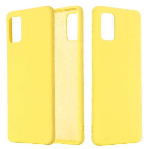 For Galaxy A71 Solid Color Liquid Silicone Shockproof Full Coverage Protective Case(Yellow)