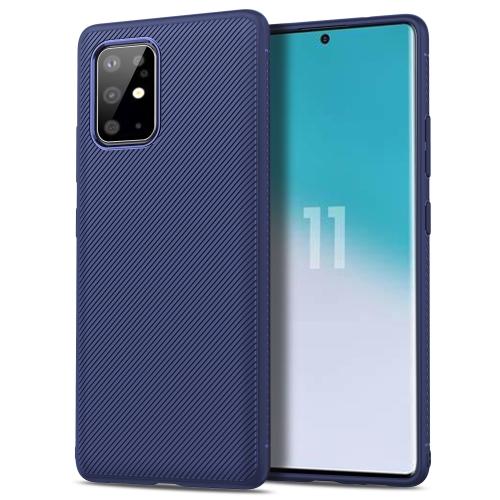 For Galaxy S20+ Lenuo Leshen Series Stripe Texture TPU Case(Dark Blue) фото