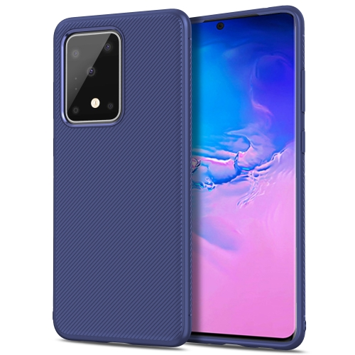 For Galaxy S20 Ultra Lenuo Leshen Series Stripe Texture TPU Case(Dark Blue) фото