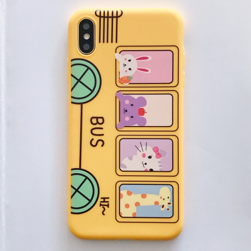 For iPhone XS / X Frosted Yellow Animals Bus Pattern Full Coverage Shockproof TPU Case