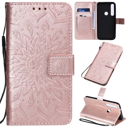 For Motorola MOTO G8 Plus Pressed Printing Sunflower Pattern Horizontal Flip PU Leather Case with Holder & Card Slots & Wallet & Lanyard(Rose Gold) фото