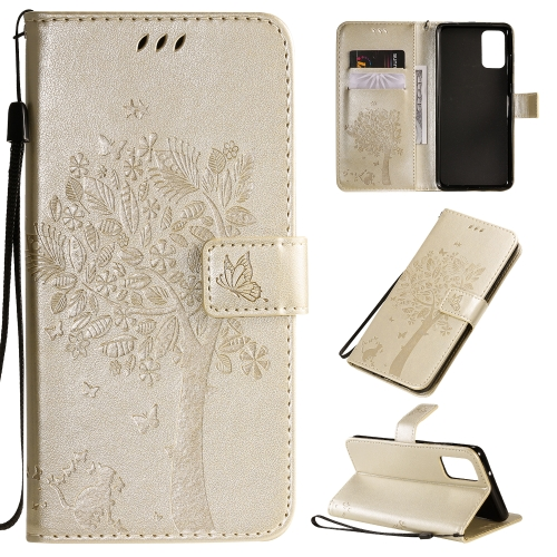 For Galaxy S20+ Tree & Cat Pattern Pressed Printing Horizontal Flip PU Leather Case with Holder & Card Slots & Wallet & Lanyard(Gold)