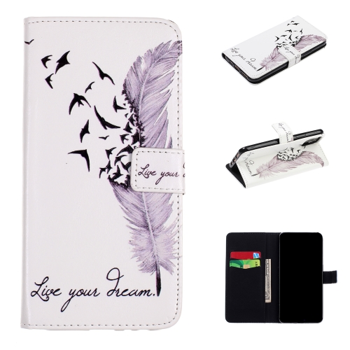 For iPhone 11 Pro Embossed Coloured Drawing Pattern Horizontal Flip Leather Case with Holder & Card Slots & Wallet(Feather)