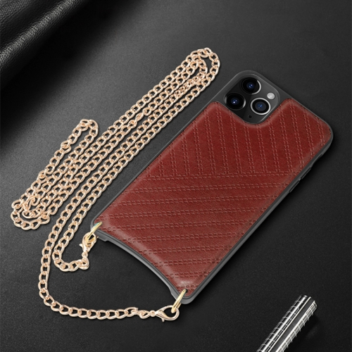 For iPhone 11 Pro Max Mutural PC+PU+TPU Crossbody Protective Case with Removable Shoulder Metal Chain(Red) фото