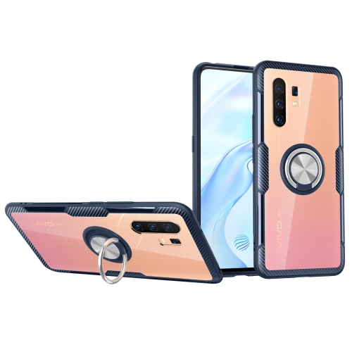 For Vivo X30 Pro Shockproof Transparent TPU + Acrylic Protective Case with Ring Holder(Navy)