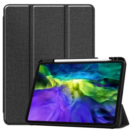 Fabric Denim TPU Smart Tablet Leather Case with Sleep Function & Tri-Fold Bracket & Pen Slot(Black) фото