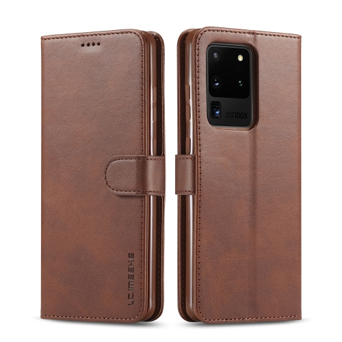 For Galaxy S20 Ultra LC.IMEEKE Calf Texture Horizontal Flip Leather Case, with Holder & Card Slots & Wallet & Photo Frame(Coffee)