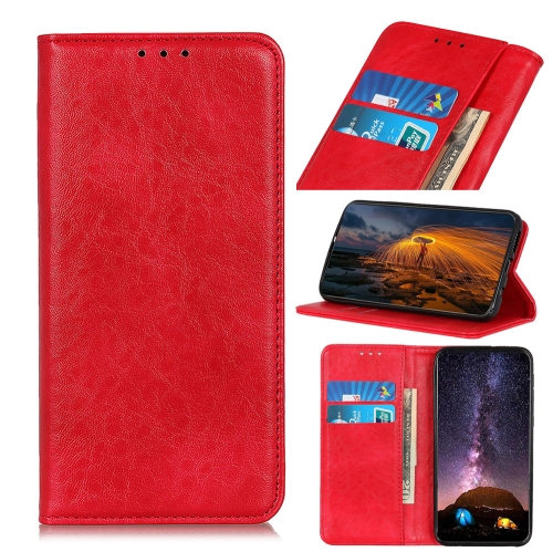For Huawei P40 Lite E / Y7P Magnetic Crazy Horse Texture Horizontal Flip Leather Case with Holder & Card Slots & Wallet(Red)