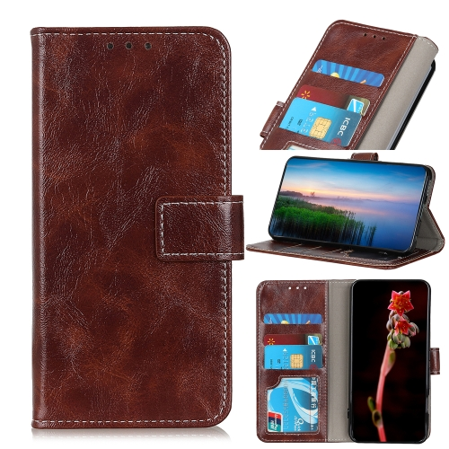 For Alcatel 1S 2020 Retro Crazy Horse Texture Horizontal Flip Leather Case with Holder & Card Slots & Photo Frame & Wallet(Brown)