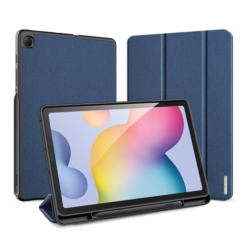 For Galaxy Tab S6 Lite 10.4 inch DUX DUCIS Domo Series Horizontal Flip Magnetic PU Leather Case with Three-folding Holder & Pen Slot(Blue)