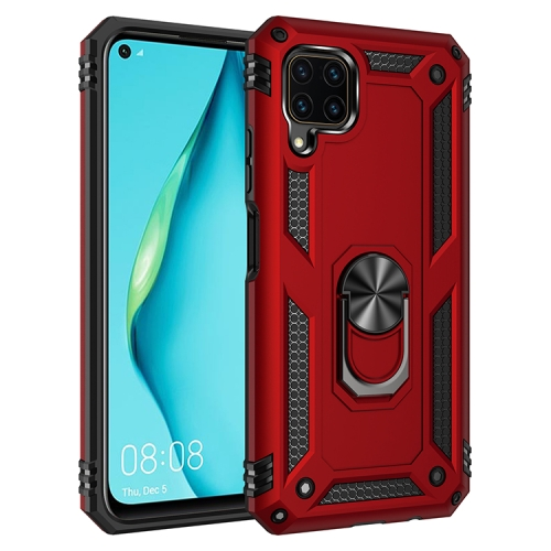 For Huawei P40 Lite Shockproof TPU + PC Protective Case with 360 Degree Rotating Holder(Red)