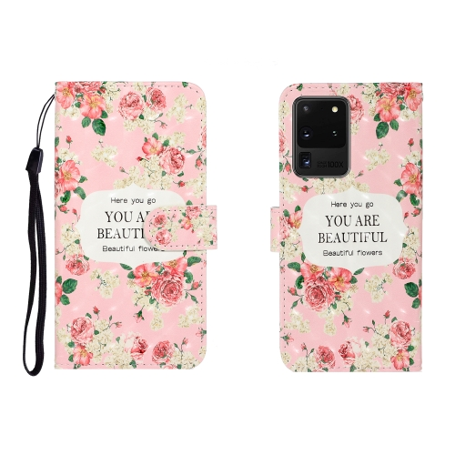 For Galaxy S20 Ultra 3D Colored Drawing Horizontal Flip Leather Case with Holder & Card Slot & Wallet(Rose Flower) фото