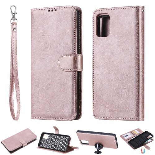 For Galaxy A51 Solid Color Horizontal Flip Protective Case with Holder & Card Slots & Wallet & Photo Frame & Lanyard(Rose Gold)