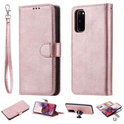 For Galaxy S20 Solid Color Horizontal Flip Protective Case with Holder & Card Slots & Wallet & Photo Frame & Lanyard(Rose Gold) фото
