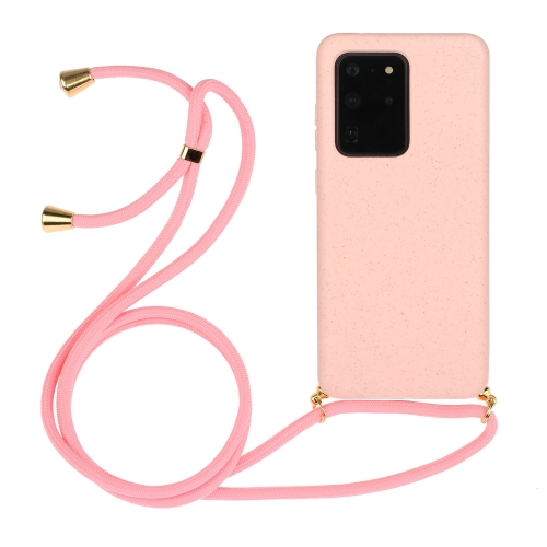For Galaxy S20 Ultra Wheat Straw Material + TPU Protective Case with Lanyard(Pink) фото