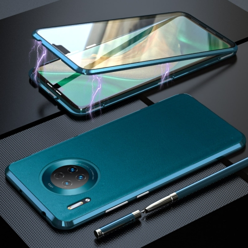 For Huawei Mate 30 Shockproof Magnetic Attraction Leather Backboard + Tempered Glass Case(Cyan-blue) фото