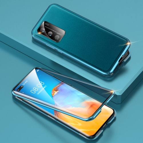 For Huawei P40 Shockproof Magnetic Attraction Leather Backboard + Tempered Glass Case with Camera Lens Protector Cover(Cyan-blue) фото