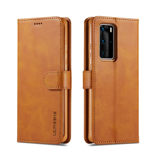For Huawei P40 Pro LC.IMEEKE Calf Texture Horizontal Flip Leather Case, with Holder & Card Slots & Wallet & Photo Frame(Brown)