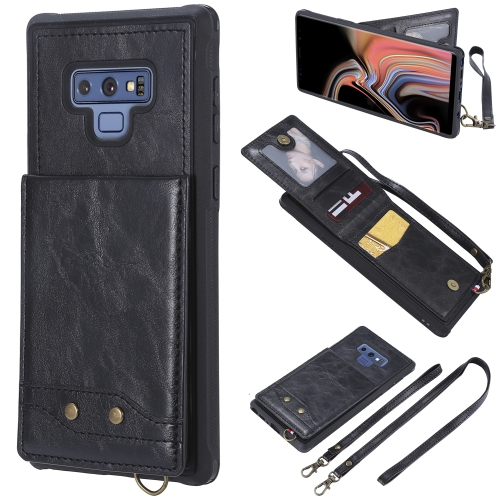 For Galaxy Note 9 Vertical Flip Shockproof Leather Protective Case with Long Rope, Support Card Slots & Bracket & Photo Holder & Wallet Function(Black) фото