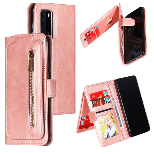 For Huawei P40 Nine Card Zipper Bag Horizontal Flip Leather Case With Holder & Card Slots & Photo Frame & Wallet(Rose Gold)