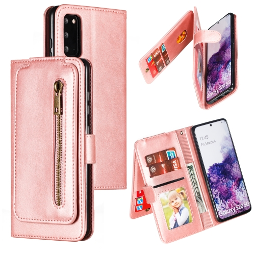 For Galaxy S20 Nine Card Zipper Bag Horizontal Flip Leather Case With Holder & Card Slots & Photo Frame & Wallet(Rose Gold)