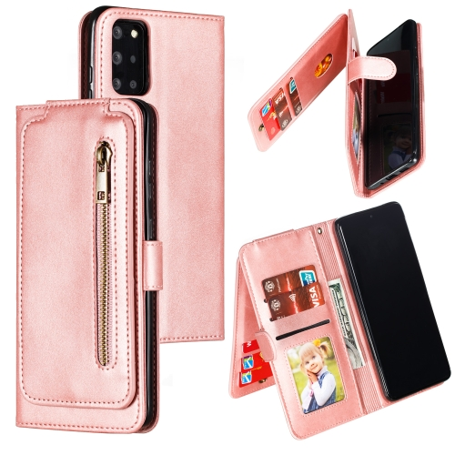 For Galaxy S20+ Nine Card Zipper Bag Horizontal Flip Leather Case With Holder & Card Slots & Photo Frame & Wallet(Rose Gold)