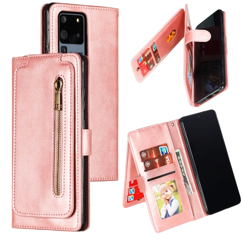 For Galaxy S20 Ultra Nine Card Zipper Bag Horizontal Flip Leather Case With Holder & Card Slots & Photo Frame & Wallet(Rose Gold)
