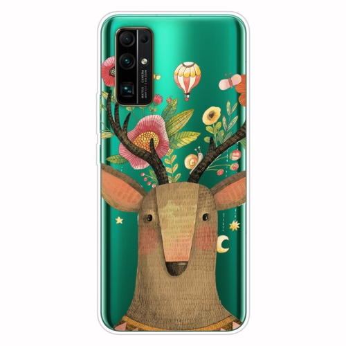 For Huawei Honor 30S Shockproof Painted Transparent TPU Protective Case(Flower Deer)