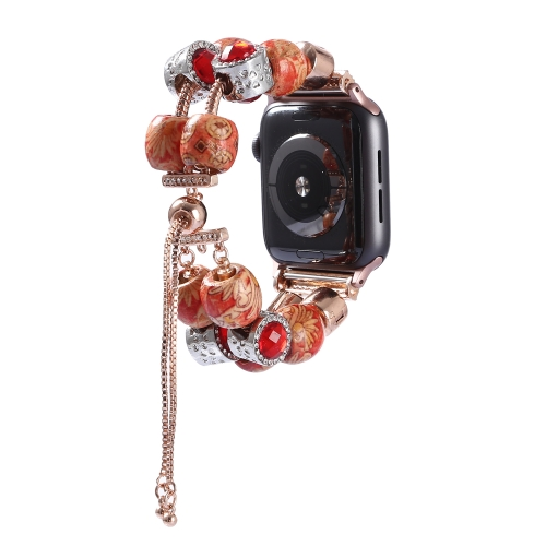 For Apple Watch 5 & 4 44mm / 3 & 2 & 1 42mm DIY Printing Wood Bead Bracelet Watchband(Adjustable)