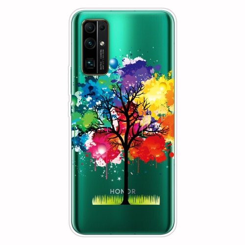For Huawei Honor 30 Shockproof Painted Transparent TPU Protective Case(Oil Painting Tree)