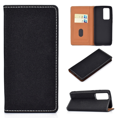 For Huawei P40 Solid Color Frosted Magnetic Horizontal Flip Leather Case with Card Slots & Holder(Black) фото