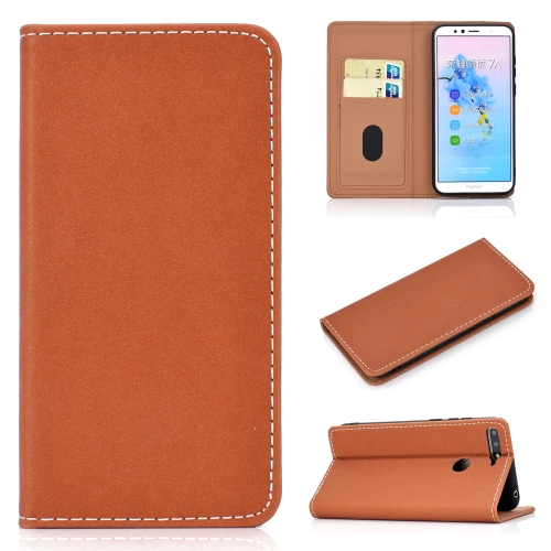For Huawei Honor 7A Solid Color Frosted Magnetic Horizontal Flip Leather Case with Card Slots & Holder(Brown)