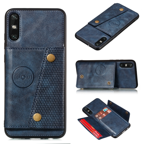For Huawei Enjoy 10e PU + TPU Shockproof Magnetic Protective Case with Card Slots(Blue)