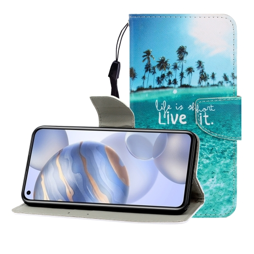 For Huawei Honor 30 Pro Colored Drawing Horizontal Flip Leather Case with Holder & Card Slot & Wallet(Coconut Tree)