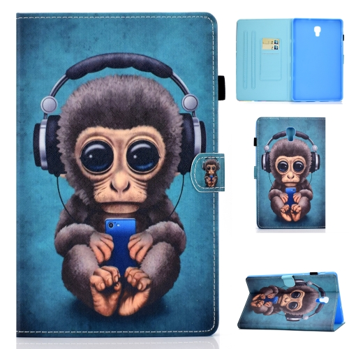 For Galaxy Tab A10.5 T590 Horizontal TPU Painted Flat Feather Case Anti-skid strip with Sleep Function & Pen Cover & Card Slot & Holder(Headphone Monkey) фото