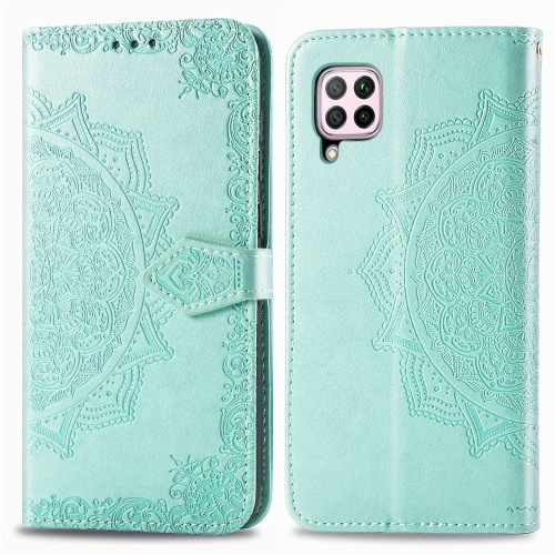 For Huawei P40 Lite / nova 6 SE Embossed Mandala Pattern PC + TPU Horizontal Flip Leather Case with Holder & Card Slots(Green)
