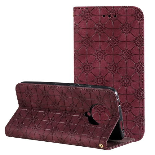 For Xiaomi Redmi K30 Pro Lucky Flowers Embossing Pattern Magnetic Horizontal Flip Leather Case with Holder & Card Slots(Wine Red)