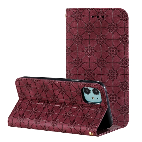For iPhone 11 Lucky Flowers Embossing Pattern Magnetic Horizontal Flip Leather Case with Holder & Card Slots(Wine Red)