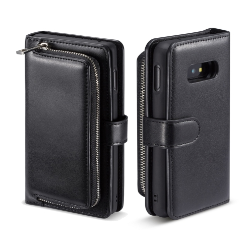 For Galaxy S10 Lite Plain Texture Zipper Horizontal Flip Leather Case with Card Slots & Wallet Function(Black) фото
