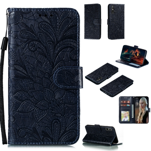 For Huawei Enjoy 10e Lace Flower Embossing Pattern Horizontal Flip Leather Case , with Holder & Card Slots & Wallet & Photo Frame & Lanyard(Black)