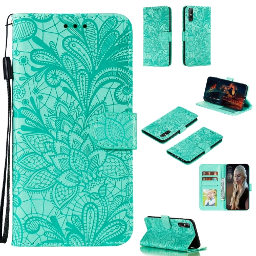 For Huawei Enjoy 10e Lace Flower Embossing Pattern Horizontal Flip Leather Case , with Holder & Card Slots & Wallet & Photo Frame & Lanyard(Green)