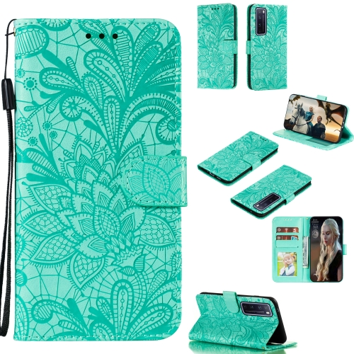 For Huawei Nova 7 Pro Lace Flower Embossing Pattern Horizontal Flip Leather Case , with Holder & Card Slots & Wallet & Photo Frame & Lanyard(Green)