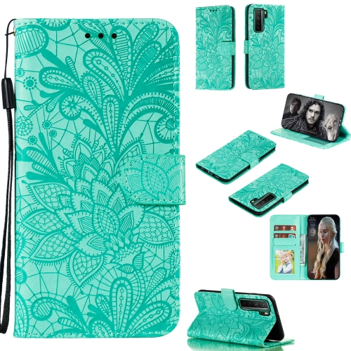 For Huawei Nova 7 SE Lace Flower Embossing Pattern Horizontal Flip Leather Case , with Holder & Card Slots & Wallet & Photo Frame & Lanyard(Green)