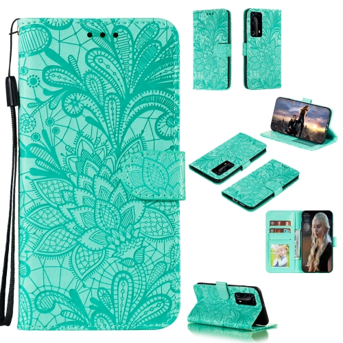 For Huawei P40 Pro Plus Lace Flower Embossing Pattern Horizontal Flip Leather Case , with Holder & Card Slots & Wallet & Photo Frame & Lanyard(Green)