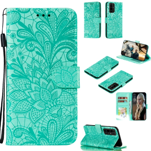 For Huawei Honor 30 Pro Lace Flower Embossing Pattern Horizontal Flip Leather Case , with Holder & Card Slots & Wallet & Photo Frame & Lanyard(Green)
