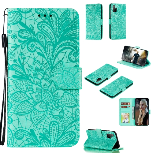For Huawei Honor 30S Lace Flower Embossing Pattern Horizontal Flip Leather Case , with Holder & Card Slots & Wallet & Photo Frame & Lanyard(Green)